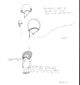 Olier and balloons primary sketches.