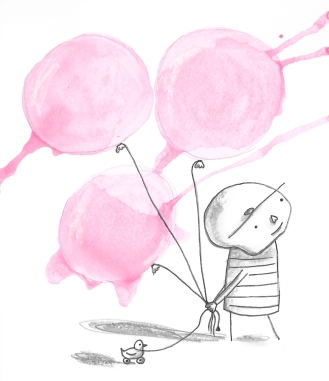 Pink balloons and a duck. Best friends.